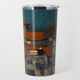 Vintage Japanese Woodblock Print Village At Night Feudal Japan Travel Mug