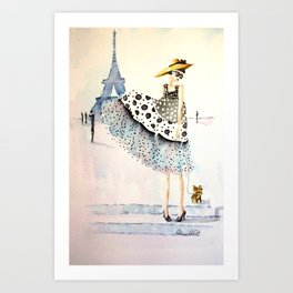 A Girl, Her Dress, And Her Yorkie Art Print