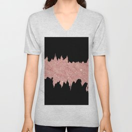 Modern abstract black faux rose pink glitter brushstrokes Unisex V-Neck