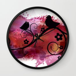 Black birds silhouette on a branch Wall Clock