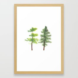 Twins by Essie Lee, nature print, landscape painting, trees, forest artwork, forest print, poster Framed Art Print