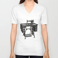 sewing V-neck T-shirts featuring Singer sewing machine by eARTh