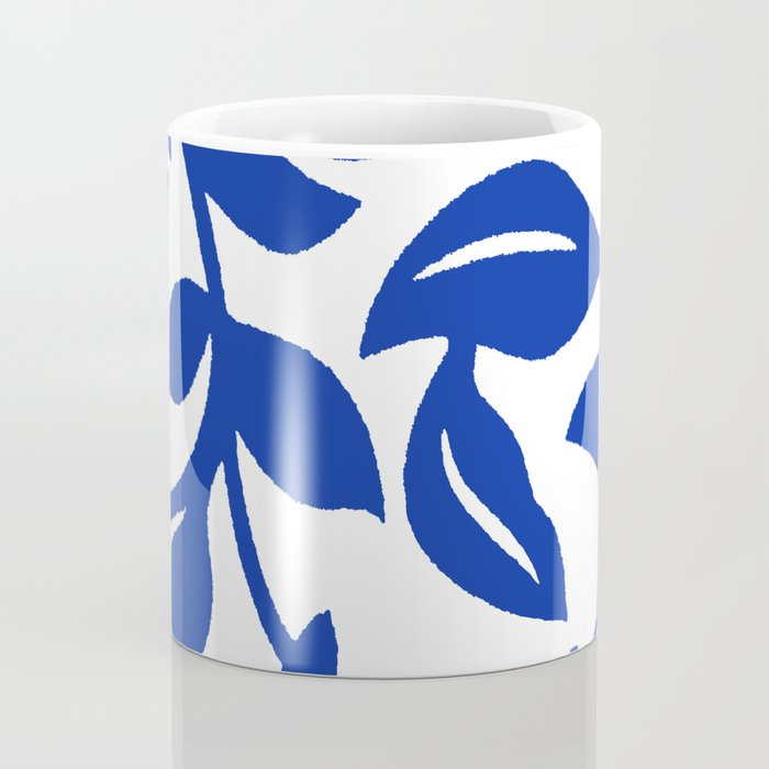 PALM LEAF VINE SWIRL BLUE AND WHITE PATTERN Coffee Mug