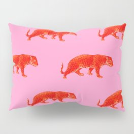 Vintage Cheetahs in Coral + Red Pillow Sham