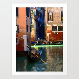 Gondoliers On A Venetian Canal Art Print