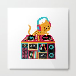 Cat DJ Metal Print