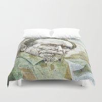 bukowski Duvet Covers featuring Charles Bukowski by Nina Palumbo Illustration