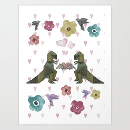 T-Rex Luv Takes Flight Pastel Art Print