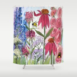 Watercolor Acrylic Cottage Garden Flowers Shower Curtain