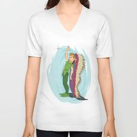 peter pan V-neck T-shirts featuring Peter Pan by LarissaKathryn