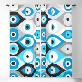 Greek Evil Eye pattern Blues and Greys Blackout Curtain