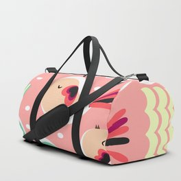 Funny birds in pink and blue Duffle Bag