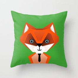 Clever Fox – Childrens Room Illustration for Boys and Girls Throw Pillow
