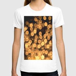 Golden Bokeh Light On A Black Background #decor #society6 T-shirt