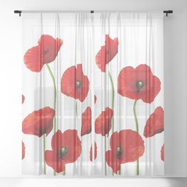 Poppies Field white background Sheer Curtain
