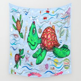 Sea Turtles and their diet Wall Tapestry