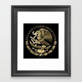 Mexican flag seal in sepia tones on black bg Framed Art Print