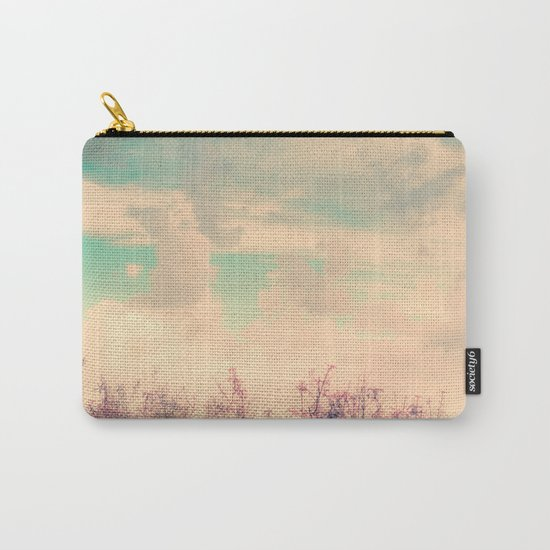 Spring Daydream (Dusty Pink Flowers, Mint Green Sky) Carry-All Pouch
