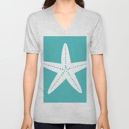 Starfish (White & Teal) Unisex V-Neck