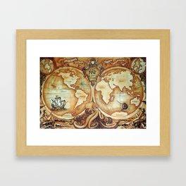 Release the Kraken - A New Map of the World Framed Art Print