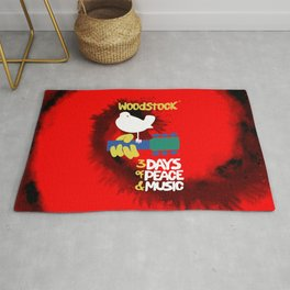 Woodstock 1969 (tie dye background) Rug