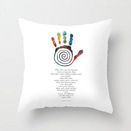 Native American Blessing Art - Healing Hand Symbol - Sharon Cummings Throw Pillow
