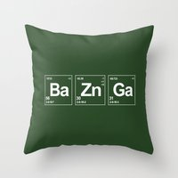 breaking Throw Pillows featuring Breaking Bazinga by dutyfreak