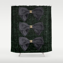 coco vintage bow forest green Shower Curtain