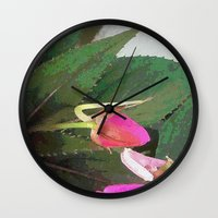 hot pink Wall Clocks featuring Hot Pink by Glenn Designs