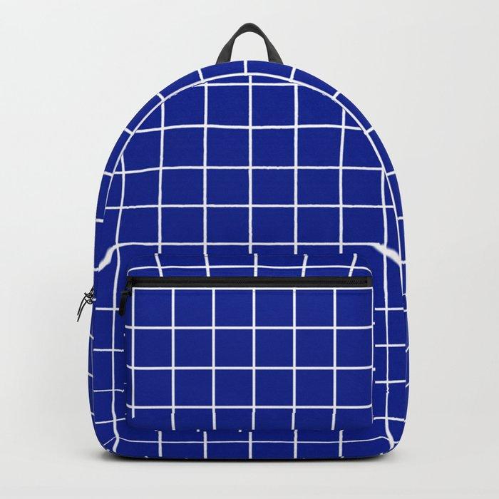 Indigo dye - blue color - White Lines Grid Pattern Backpack