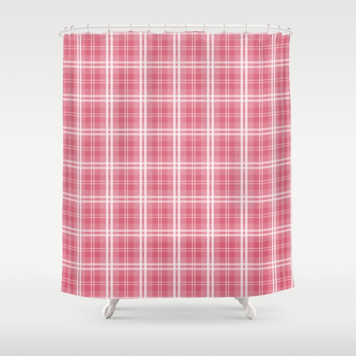 Faded And Shaded Nanucket Red White Tartan Plaid Check Shower Curtain