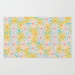 Retro Sunny Floral Pattern Rug
