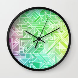 Bright Gradient (Violet Purple Lime Green Neon Yellow) Geometric Pattern Print Wall Clock