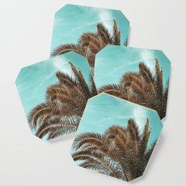 Summer Palm Leaf Print {1 of 3} | Teal Sun Sky Beach Vibes Tropical Plant Nature Art Coaster