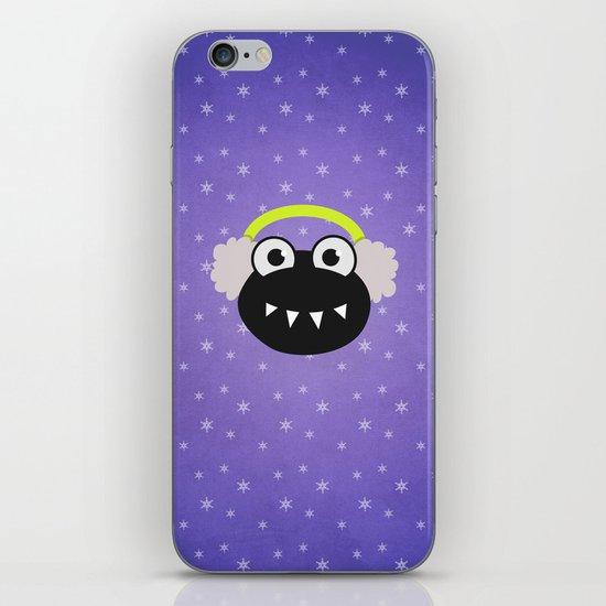 Purple Cute Cartoon Bug With Earflaps In Winter iPhone & iPod Skin