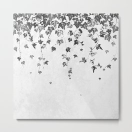 Hand Printed Black and White Trailing Ivy Metal Print