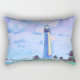 Cape florida lighthouse and Biscayne bay artwork Rectangular Pillow
