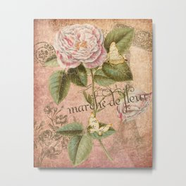 French Flower Market - Marche de Fleur - Rose and French Ephemera Print Metal Print