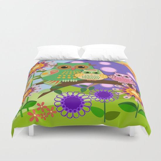 Owls, Flowers Fantasy design Duvet Cover