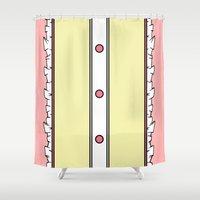 madoka Shower Curtains featuring Madoka Kaname Magical Girl Dress by Bunny Frost