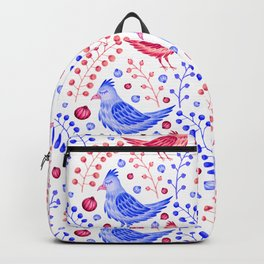 Artistic hand painted pastel pink blue watercolor floral bird Backpack