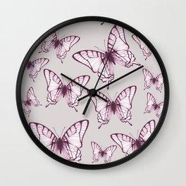 butterfly pattern in purple Wall Clock