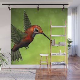 Colorful Hummingbird & Green Unfocused Background Wall Mural