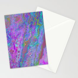 Pink Turquoise Pour Stationery Cards