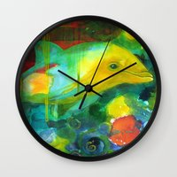 dolphin Wall Clocks featuring Dolphin by Silke Powers