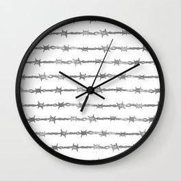 barbed wire stripe - white Wall Clock
