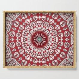 Red White Bohemian Mandala Design Serving Tray