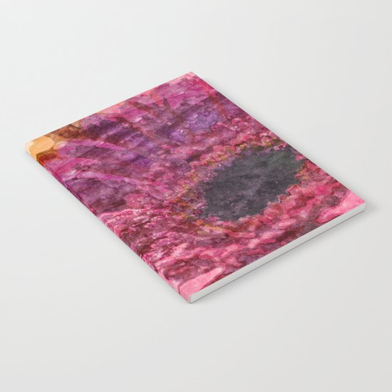 Pink glitter blossom -Floral watercolor illustration Notebook