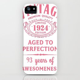 Pink-Vintage-Limited-1924-Edition---93rd-Birthday-Gift iPhone Case