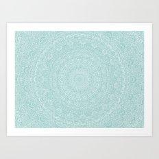The Most Detailed Intricate Mandala (Blue Green Gray) Maze Zentangle Hand Drawn Popular Trending Art Print